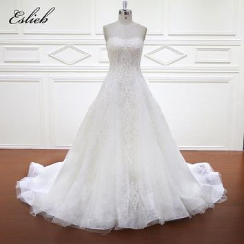 Eslieb 100% Real Photos Luxury Wedding Dresses Chaple Train Lace Appliques Off the Shoulder Wedding Dress 2018 Vestido XF1105