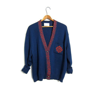 Pendleton Cardigan Sweater 80s Navy Blue Preppy WOOL Button Up Mod Sweater Hipster School Girl Slouchy Boyfriend Nerd 1980s Vintage LARGE