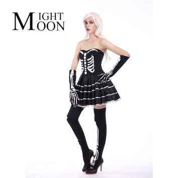 MOONIGHT New 2017 Women Halloween Dress Sleeveless Skeleton Skull Print Mini A-Line Dress Halloween Costumes For Women