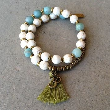 Calm and Confidence, Howlite and Amazonite 27 Bead Wrap Mala Bracelet