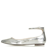 SALOON Ankle Strap Flats - Silver