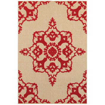 Oriental Weavers Cayman 097R9 Sand/ Red Floral Area Rug