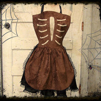 Rib Cage APRON Embossed Paisley Halloween