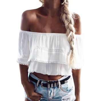 Women Fashion Chiffon Blouse Splice Lace Tops Summer Short Sleeve Off The Shoulder White Shirt Roupa Feminina #BF