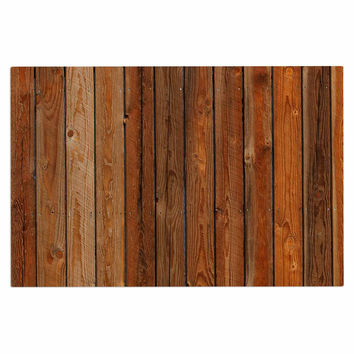 "Susan Sanders ""Rustic Wood Wall"" Nature Brown Decorative Door Mat"