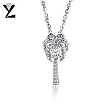 YL Dancing Topaz Pendant Necklaces for Women Wedding Fine Jewelry Coconut Palm Tree Best Gift Pendant Sterling-Silver-Jewelry