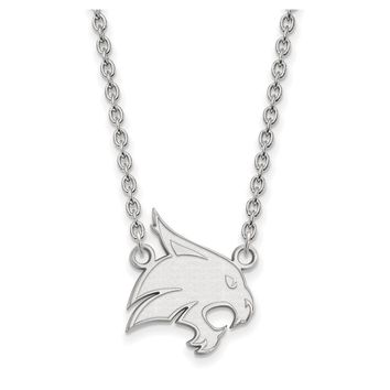 NCAA 10k White Gold Texas State Large Pendant Necklace