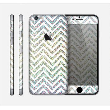 The White & Confetti Glitter Print Sharp Chevron Skin for the Apple iPhone 6