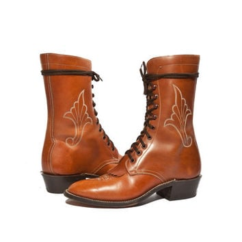 Vintage High Lace Up Roper Boots Western Stitch by Hondo Women 10 Men 8