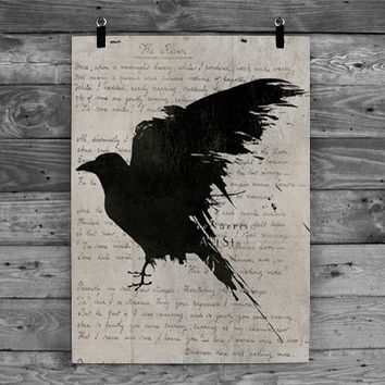 The raven Poem - Nevermore - Gothic art print - Edgar Allan Poe - Black bird art - Geekery art - Modern decor - dramatic dark art