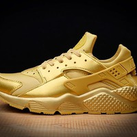 Best Online Sale Nike Air Huarache 1 Run Rainbow Ultra Breathe Men Women All Gold Running Sport Casual Shoes Sneakers - 725076 057