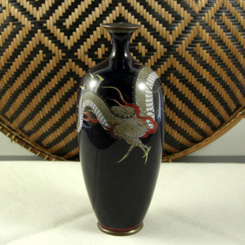 Antique Japanese Cloisonne Imperial DRAGON Vase // Meigi Period 19th Century // from Successionary