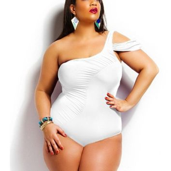 swimwear Women Plus Size one piece swimsuit Push Up bathing suit Large Swim Suit Female monokini One Shoulder Ruched Bather h437