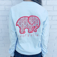 2016 Trending Fashion Summer Light Blue Elephant Printed Women Long Sleeve Top Women Tank Vest T-Shirt Top