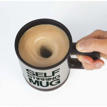 Lazy Auto Self Stir Stirring Mixing Tea Coffee Cup Mug Work Office - Black
