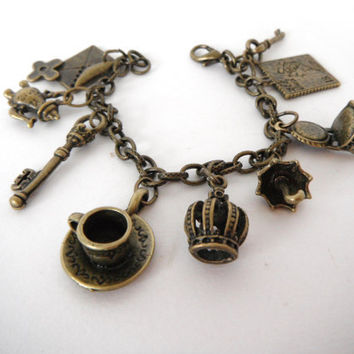 Antiqued Brass Charm Bracelet Teapot Key Chair Coffee Cup Umbrella Gift under 30 fashion