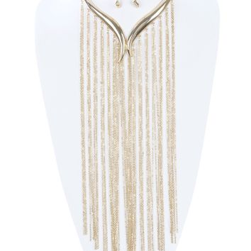 Curve  V Shape Choker Long Chain Fringe    Necklace Earring Set