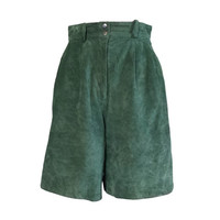 Vintage Green Leather Suede High Waisted Shorts, Size 12, Short Culottes, David Hollis, Distressed, Nylon Lining, Retro 80s, 90s Clothing