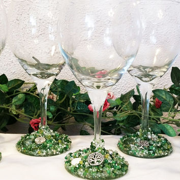 Tree of Life Wine Glass Set, Decorated Wine Glasses, Beaded Wine Glasses, Decorated Glasses, Embellished Glasses, Wine Glasses, Glasses