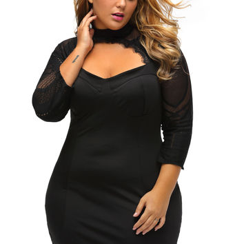 Sheer Lace Cutout Long Sleeve Curvy Dress