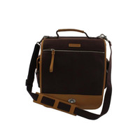 Bodhi Handbags Mens Vintage Army Canvas Leather Trim Laptop Bag