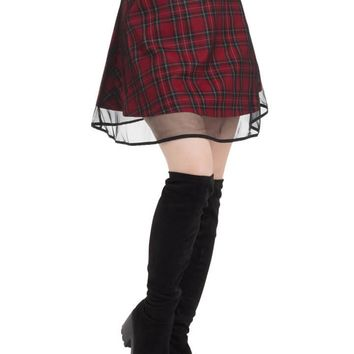 "Women's ""Tartan"" Two Layer Mesh Skirt by Jawbreaker (Red)"