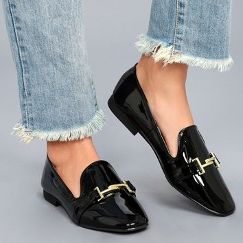 Klynn Black Patent Loafers