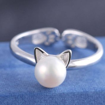 925 Sterling Silver Cute Cat Pearl Open Rings