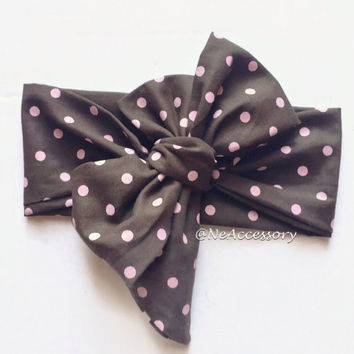 Brown Dot Headwrap, Bow Headwrap, Brown Dot Head Wrap, Baby Headwrap, Brown Dot Hair Bow