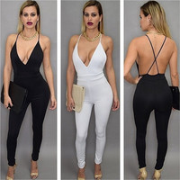 Women's Fashion Summer Sexy Spaghetti V-neck Sleeveless Cross Backless Jumpsuit Long Rompers