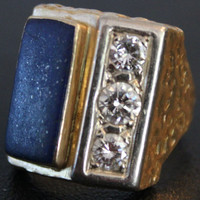 Vintage Lapis Lazuli and Diamond 14K yellow and white gold Ring Heavy 16G Cast OOAK Statement Ring size 12-13