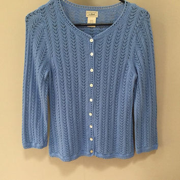 Blue Cardigan Sweater, Vintage Spring Sweater, Open Weave Blue Sweater, Vintage Cardigan Sweater, LL Bean Preppy Sweater, Open Weave Sweater