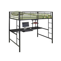 Full Metal Black Loft Bed with Work Space | Overstock.com Shopping - The Best Deals on Kids' Beds