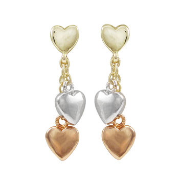 Rose And Rhodium Plated Brass Hearts Dangling, Gold Plated Sterling Silver Heart Post Earrings