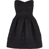 River Island Womens Black rib box pleat prom dress
