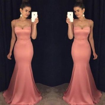 Pink Sweetheart Prom Dress Mermaid Formal Evening Gown Wedding Party Dress