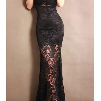 Black Patchwork Lace Hollow-out Draped Mermaid V-neck Homecoming Party Maxi Dress
