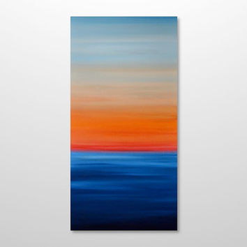 Large 18 x 36 Abstract Seascape Painting - Original Modern Canvas Acrylic Wall Art Decor - Blue Ocean, Red, Orange Sunset - Vertical Tall