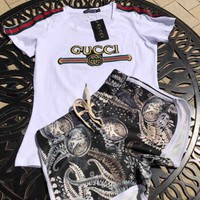 """GUCCI"" Print Short sleeve Top Shorts Pants Sweatpants Set Two-Piece Sportswear"