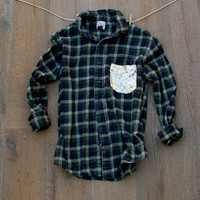Sequin Pocket Flannel Shirt The Boyfriend Hipster Dazzle Flannel Shirt -  w/Sequin Chest Pocket