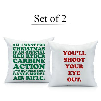 Christmas Story Throw Pillow Cover Set (Two 18 by 18 Inch pillow cover) A Christmas Story Decorations Gifts