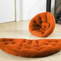 Fresh Futon Nido Convertible Futon Chair/Bed Mattress, Orange