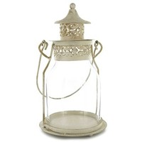Antique Cream Metal & Glass Lantern with Lid | Shop Hobby Lobby