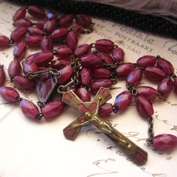 Vintage rosary CZECH Purple magenta glass beads with enameled center medal of The Virgin Mary and enamel cross
