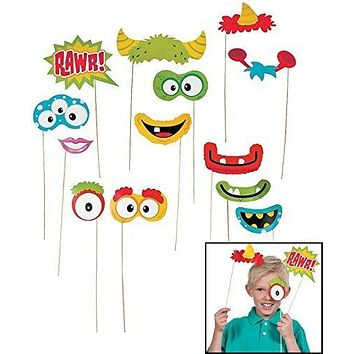 """Fun Monster Photo Stick Props (12 Pack) 1 1/2-8 1/2"""" X 2"""" - 4 1/4. Paper."""
