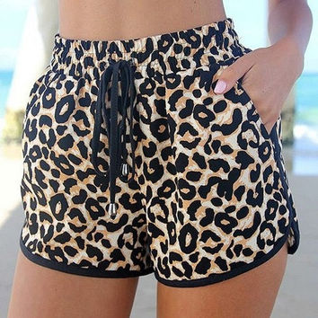 Fashionable Leopard Print Drawstring Waist Shorts For Women = 1845640836