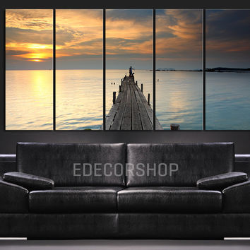 Large Wall Art Wood Pier at Sunset Canvas Print - Wall Canvas Art Print Ocean View 5 Piece Canvas Panel - Wall Art XXL Canvas - MC28