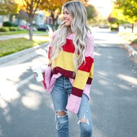 Bell Sleeve Color Block Sweater