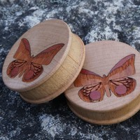 "Beautiful wooden butterfly plugs from Omerica Organic in 38mm, 1-1/2"". ..."