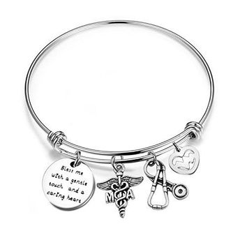 bobauna Medical Assistant Bracelet with MA Caduceus Stethoscope Heartbeat Charms Gift for Nurse Medical Assistant Bless Me With A Gentle Touch And A Caring Heart